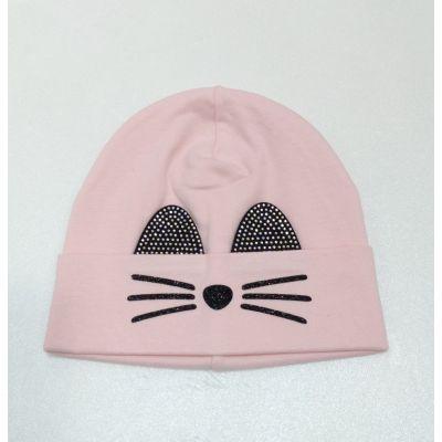 Шапочка трикотажная Котик розовый