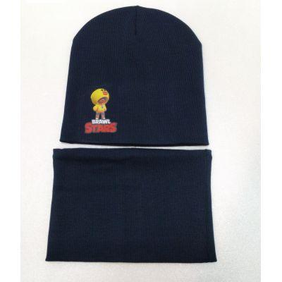 Набор шапка+снуд BRAWL STARS кашкорс синий