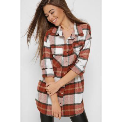 Рубашка 6540-16 байка марсала