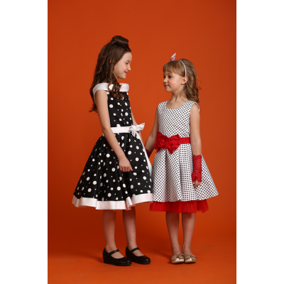 Нарядное платье Стиляги Горох Бант красное