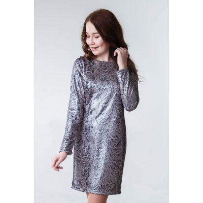 Платье серебро Бьюти Питон персик