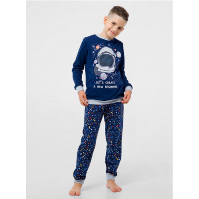 Пижама с начесом 104670 синяя