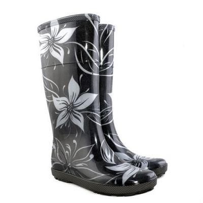 Сапоги резиновые HAWAI LADY EXCLUSIVE черные цветы