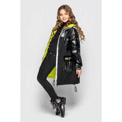 Куртка Наоми черно-салатовая
