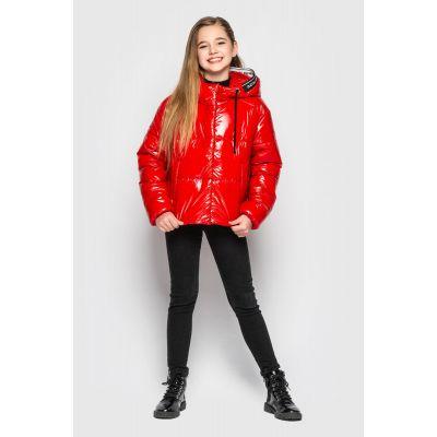 Куртка Мэнди из лаковой плащевки красная