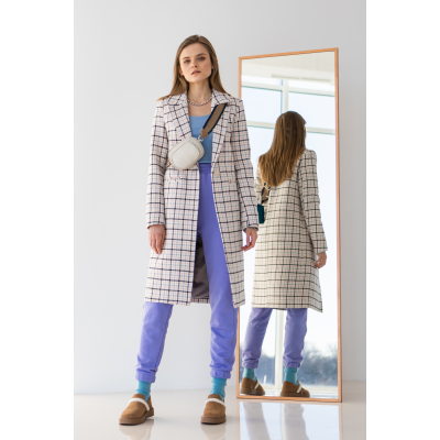 Пальто Таян 6671 серо-розовый