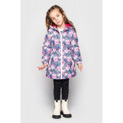 Куртка Эбби серо розовая цветы