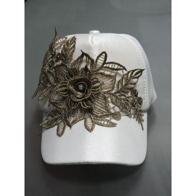 Блайзер кепка Блеск кружево белый+золото