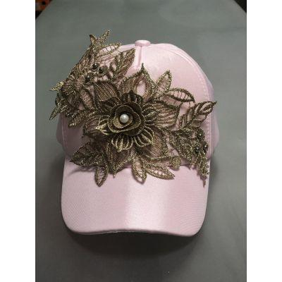 Блайзер кепка Блеск кружево розовый+золото