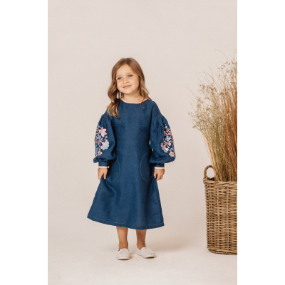 Платье вышиванка Мальва розовое удлиненное