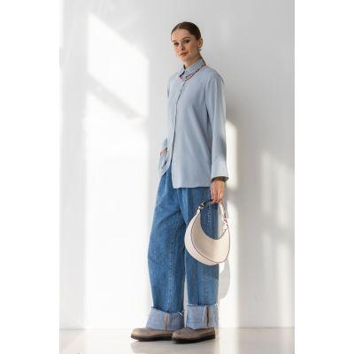 Блуза Бэлэя 6788 серо голубая