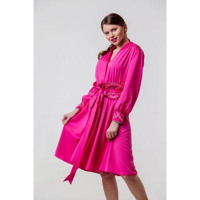 Платье вышиванка Аурика фуксия В