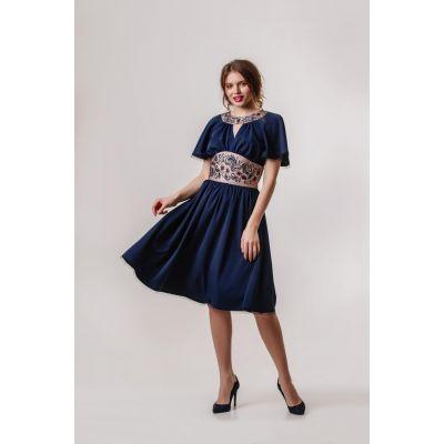 Платье вышиванка Вероника синие короткое  В