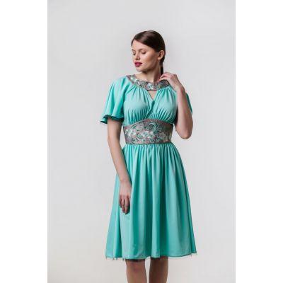 Платье вышиванка Вероника бирюзовое короткое В