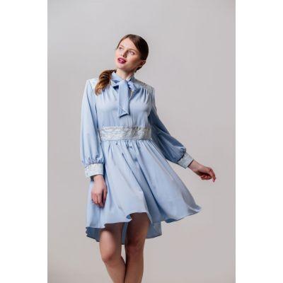 Платье вышиванка Жоржета голубое короткое В
