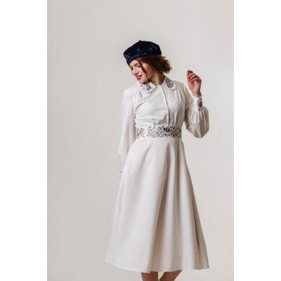 Платье вышиванка Панянка белое короткое В