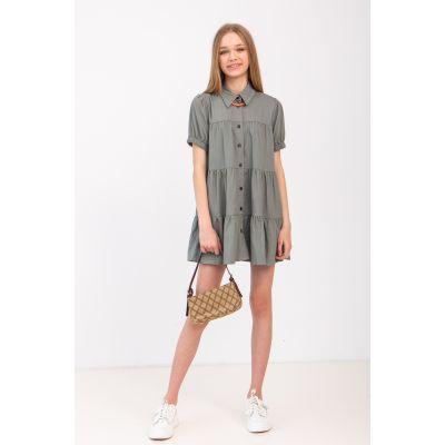 Платье Лагрейн 6951 серо-оливковое