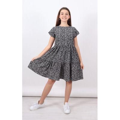 Платье 1407 черное + цветочки