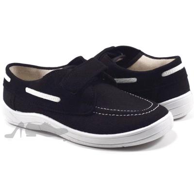 Туфли текстильные 51-020-1 черныея, белая подошва