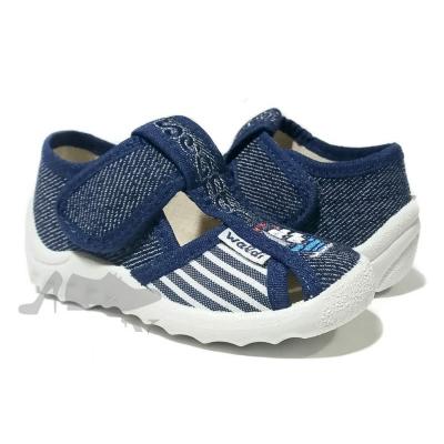 Туфли текстильные 225/120-539 Паша синие, кораблик