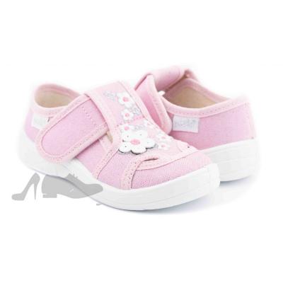 Туфли текстильные 268-600 Мила светло-розовые, цветы