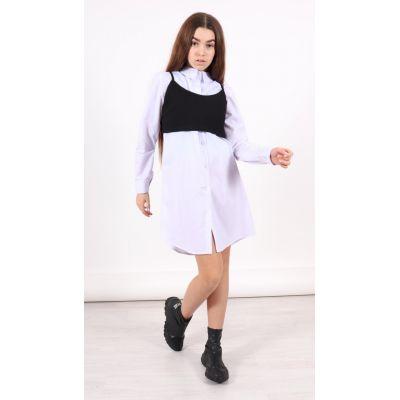 Рубашка для девочки удлиненная белая 1375