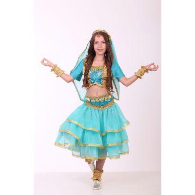 Карнавальный костюм для девочки Индийский национальный костюм, Восток, восточная красавица, Индианка бирюза