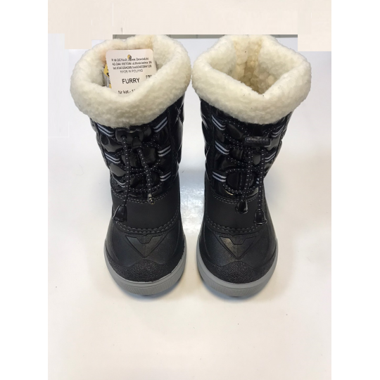 Cапоги зимние - дутики - сноубутсы для детей FURRY 1500 черные ТМ Demar
