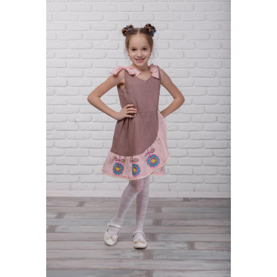 Платье вышиванка Розовое капучино
