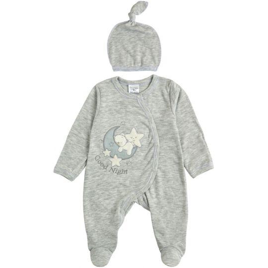 Комплект комбинезон и шапочка для малыша 29243-02 серая мята