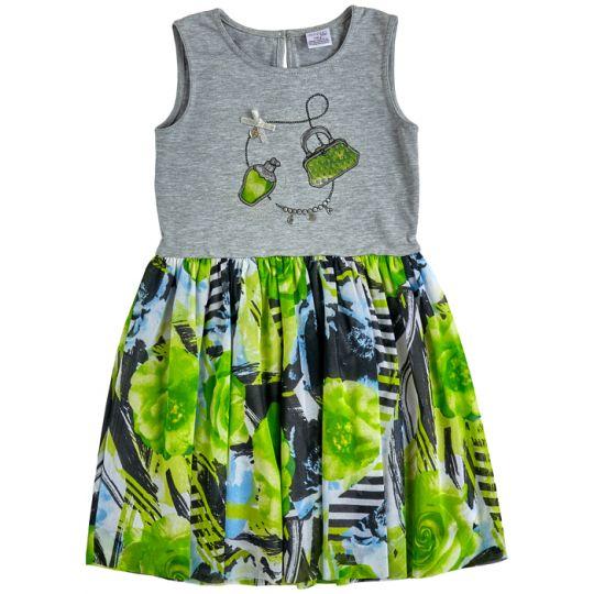 Платье 45081-16/47 кулир серый меланж, зелёная абстракция