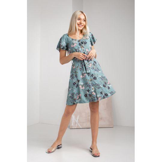 Платье Карота 5070 серо-мятное