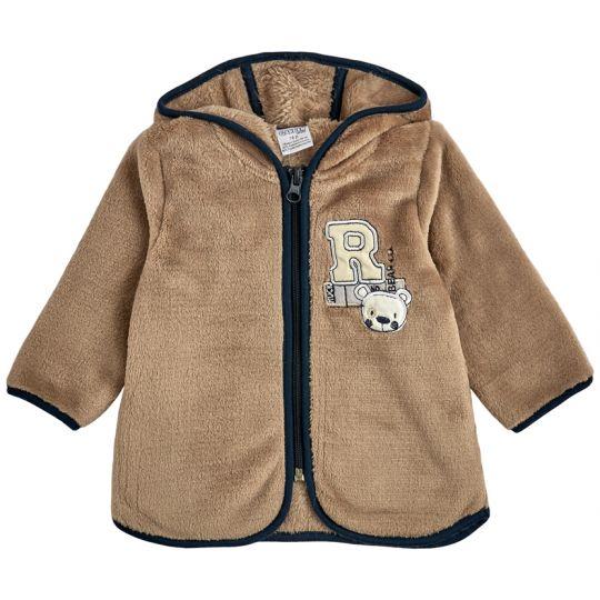 Куртка кофта на молнии для малыша 30009-25 микро-махра кофейная