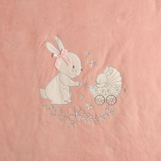 Плед одеяло утеплённый 106095-01-32  велюр персиковый