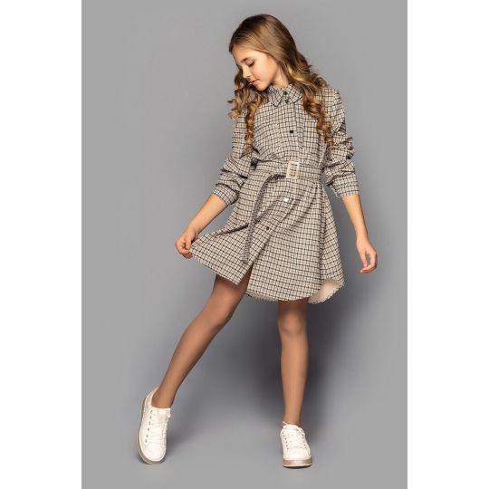 Платье Карли бежевое клетка