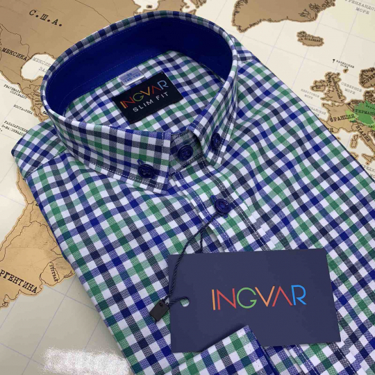 Рубашка школьная для мальчика 12-51-15(092/4) клетка сине-зелёная
