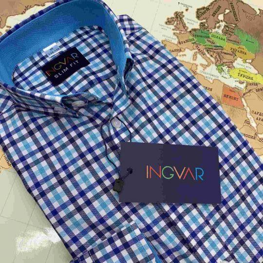 Рубашка школьная для мальчика 12-51-16 клетка сине-бирюзовая