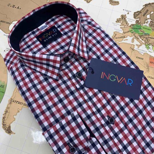Рубашка школьная для мальчика 12-51-36(4257/1) клетка красно-синяя