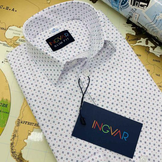 Рубашка школьная для мальчика 12-51-40(8012/1) белая с рисунком