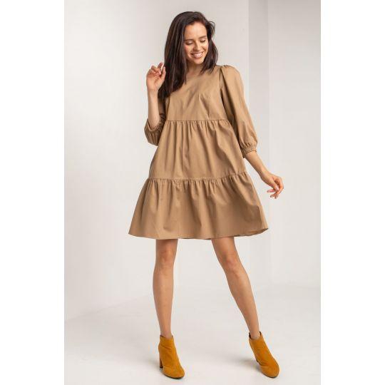 Платье Луар 5623 серо-бежевое