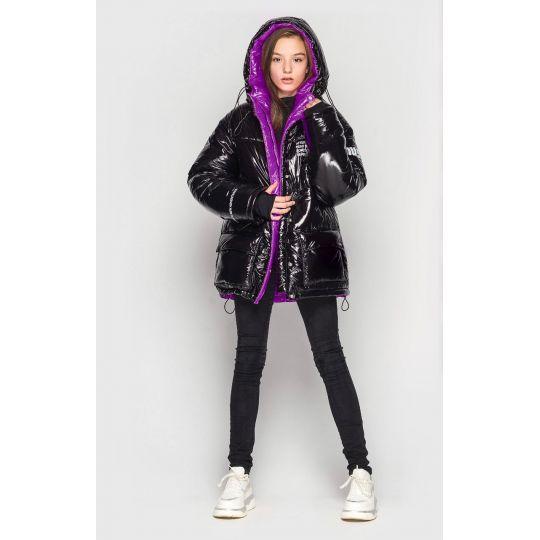 Куртка демисезонная для девочки Камилла черная с фиолет.