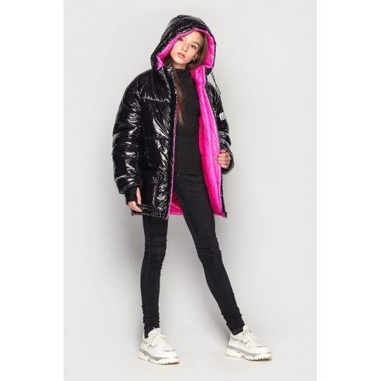 Куртка демисезонная для девочки Камилла черная с розовым