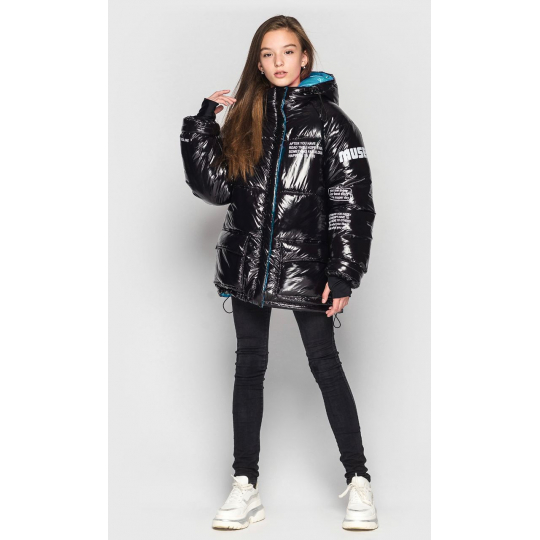 Куртка зимняя для девочки Камилла черная с бирюзой