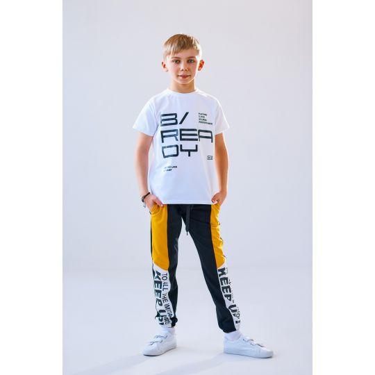 Спортивные брюки для мальчика Тер 4913 черно-жёлтые