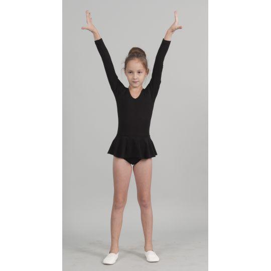 Трико гимнастическое с юбкой т1765 черное