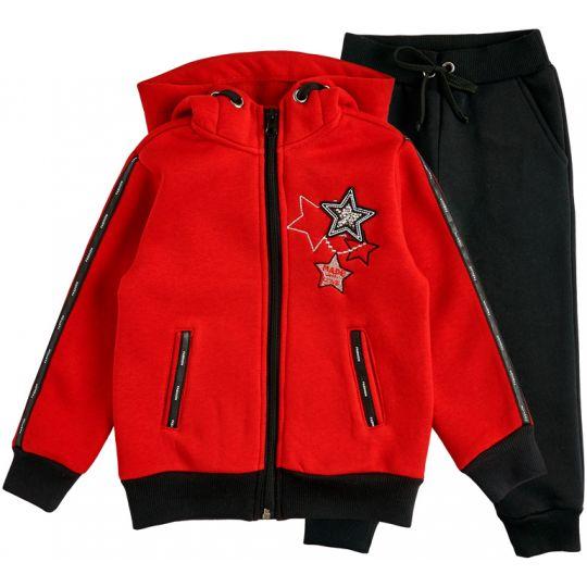 Спортивный костюм утеплённый для девочки 28264-20 красный начёс