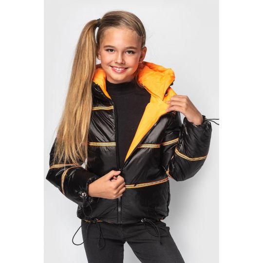 Куртка Кэрри черно оранжевая