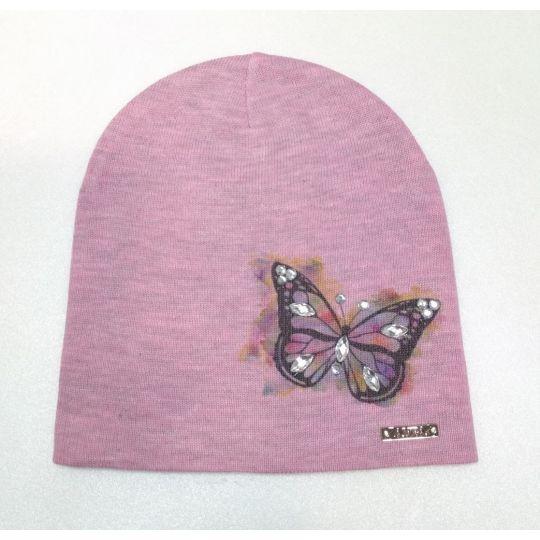 Шапочка трикотажная Бабочка Розовая