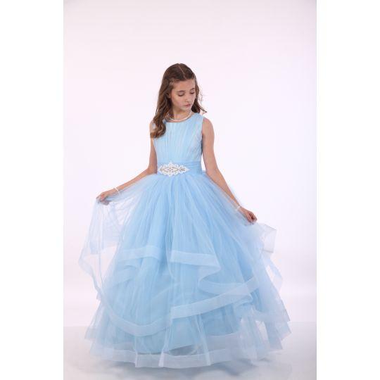 Нарядное платье для девочки 8703 голубое