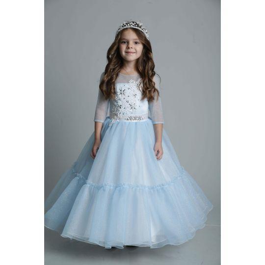 Нарядное платье для девочки Голубая посыпка